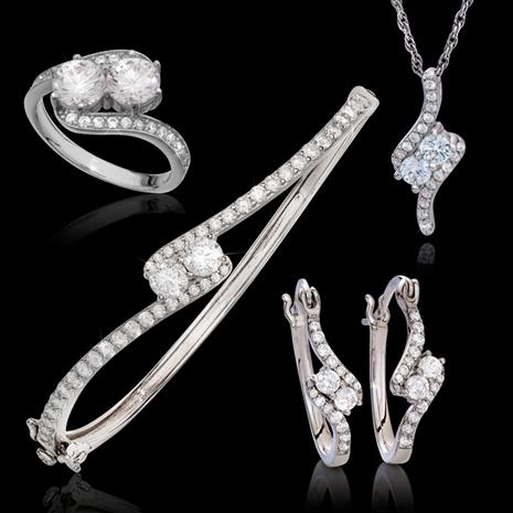 DiamondAura Forever Infinity Ring, Necklace, Earring and Bangle Set