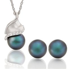 Oyster Kiss Tahitian Pearl Collection (Pendant plus Rope Chain and Studs Set)
