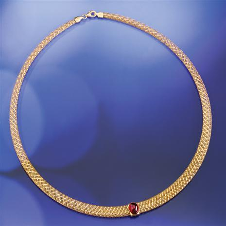 Via Di Oro Garnet Necklace