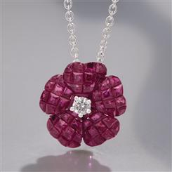 18K White Gold Ruby & Diamond Pendant with Chain