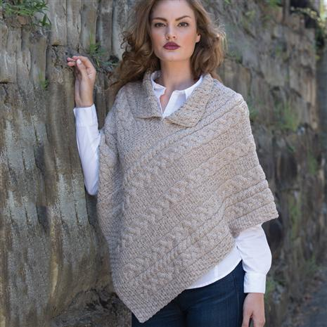 Ladies' Irish Wool Poncho (Cream)