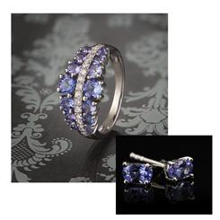 American Crown Tanzanite Ring and Studs Set