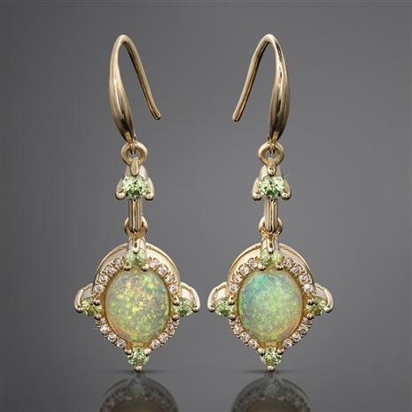 Opal & Demantoid Garnet Portrait Earrings