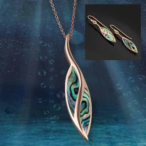 Abalone Rainbow Pendant, Chain & Earrings