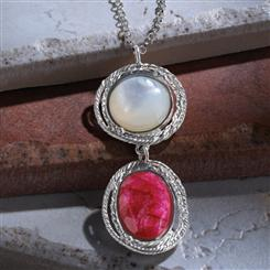"Ruby & Mother of Pearl Inspiration 18"" Necklace  (5-2/3 ctw)"