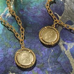 Repubblica Italia Coin Necklace And Bracelet Set