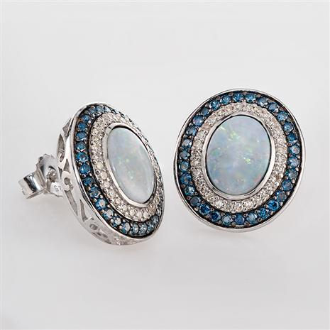 Australian Opal and Blue Diamond Earrings