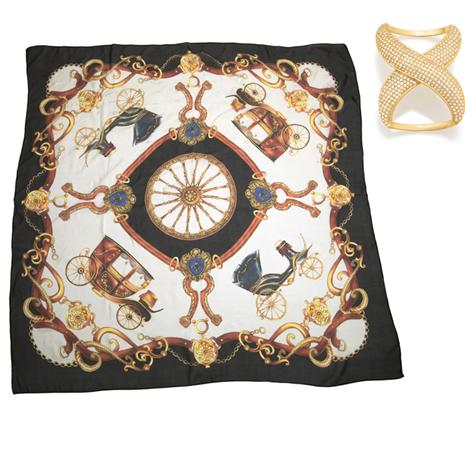 Annetta Silk Scarf Plus Scarf Ring