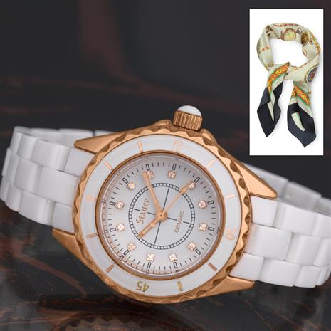 Ladies Elegante Ceramic Watch plus FREE Italia Tempo Scarf