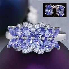 African Violet Tanzanite Ring and Earrings