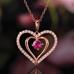 Ruby Pure Heart Pendant (1 ⅓ ctw) & Chain Set