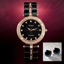 Elegante Black Ceramic Watch plus FREE Black Peacock Shell Pearl Studs