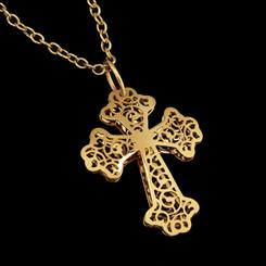 14K Byzantine Filigree Cross Pendant