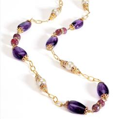 Head Over Heels Necklace Necklace (Amethyst & Ruby)