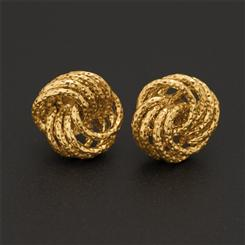 18K Italian Gold Over Sterling Rosetta Stud Earrings