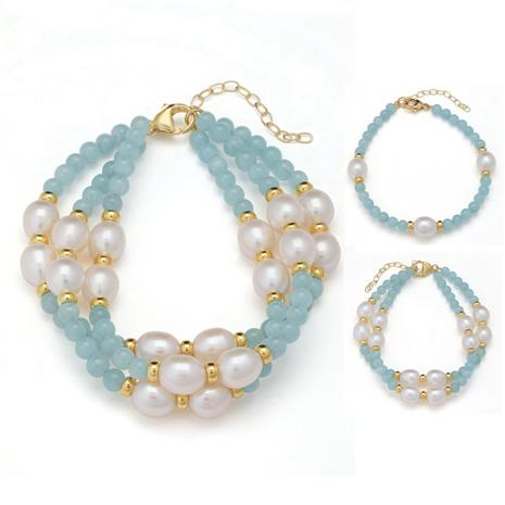 Aquamarine & Pearl Treasure Bracelets (Set of 3)