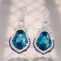 18K White Gold London Blue Topaz, Sapphire & Diamond Earrings