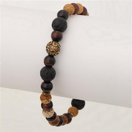 Men's Bohemian Stackable Bracelet (Lava Stone/Jasper/Tiger Eye)