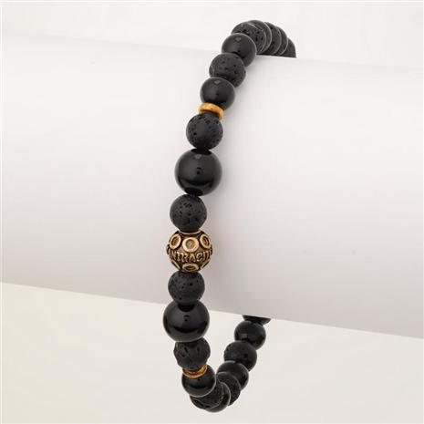 Men's Bohemian Stackable Black Agate/Lava Bracelet