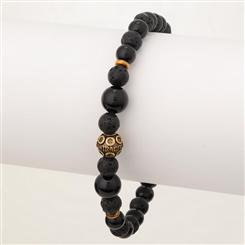 Mens Bohemian Stackable Black Agate/Lava Bracelet