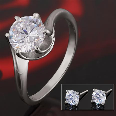 Scienza Elegance Platinum-Finished Sterling Silver Ring & Earrings