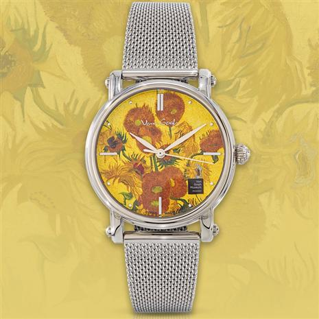 Van Gogh Masterpiece Swiss Movement Watch Sunflowers
