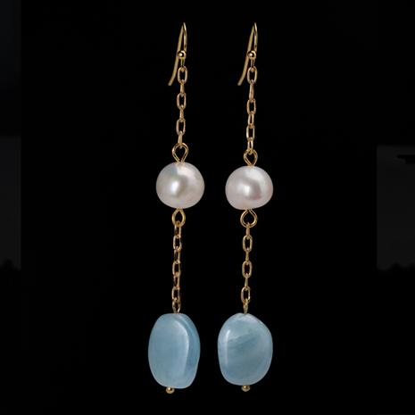 Aquamarine & Pearl Seaside Earrings