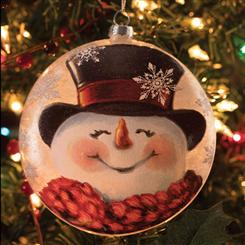 Joyful Snowman Lightable Glass Ornament