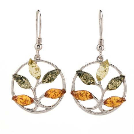 Amber Tree of Life Earrings
