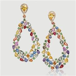 18K Yellow Gold Multi-Colored Sapphire & Diamond Earrings