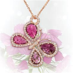 "18K Rose Gold Tourmaline and Diamond Butterfly 18"" Necklace"