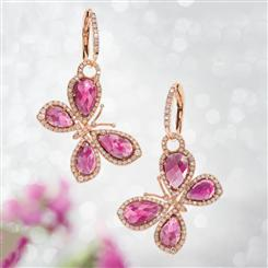 18K Rose Gold Tourmaline and Diamond Butterfly Earrings