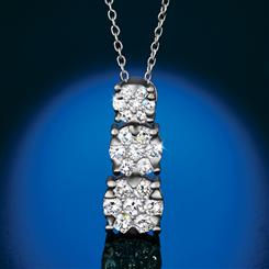 Sterling Silver Lab Created Diamond Drop Necklace