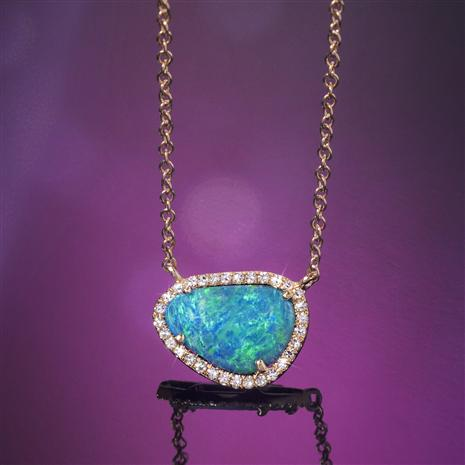 14K Gold Australian Black Opal Doublet & Diamond Necklace