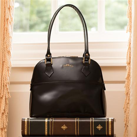 Italian Specchio Leather Handbag (Ebony)