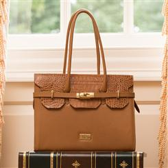 Croc-Embossed Italian Specchio Leather Handbag (Caramello)