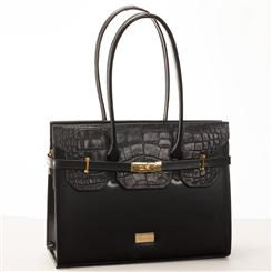 Croc-Embossed Italian Specchio Leather Handbag (Ebony)