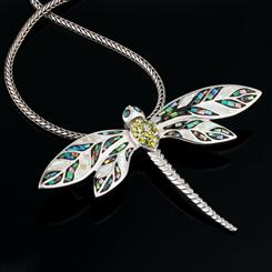 Luck Be a Dragonfly Pendant/Brooch & Chain