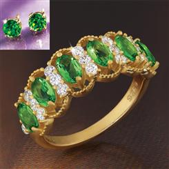 Evergreen Helenite Ring & Stud Earrings