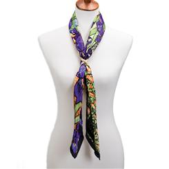 Irises Silk Scarf With Scarf Ring