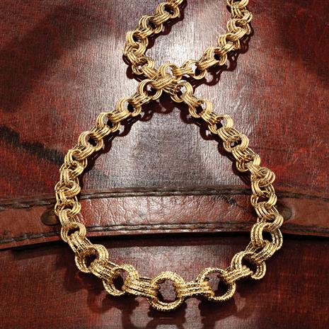 Italian 14K Gold-Finished Sterling Silver Tripolo Link Necklace