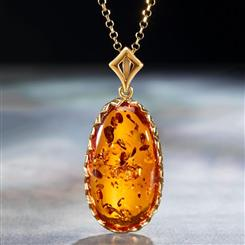 Amber Intrigue Pendant & Chain