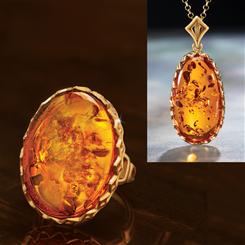 Amber Intrigue Necklace and Ring Set