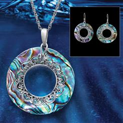 Abalone Rainbow Collection (Pendant, Chain & Earrings)