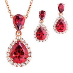 Drop Red Gorgeous Pendant, Chain & Earrings