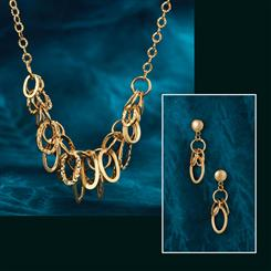 14K Gold Anello Necklace & Earrings