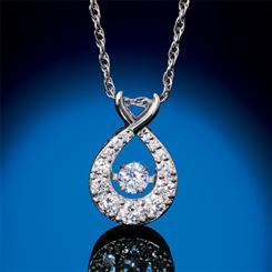 14K White Gold Lab-Created Dancing Diamond Necklace (3/4 ctw)