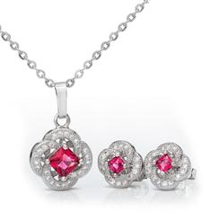 Red Clover Necklace and Earrings