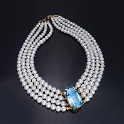 Cultured Freshwater Pearl & Gemstone Sky Blue Topaz with Sapphire Clasp
