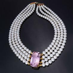 Cultured Freshwater Pearl & Gemstone Collection Pink Amethyst with Ruby Clasp